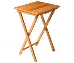 Premier Wooden Folding Solid Natural Rubberwood TV Table
