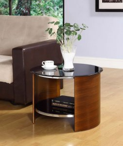 Jual San Marino Walnut & Black Glass Curved Wood Round Lamp Table