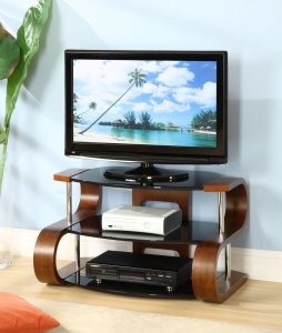 Jual Florence Walnut & Black Glass 850mm Curved Wood TV Stand - Up To 42