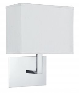Searchlight 1 Light Chrome Wall Light with White Rectangular Shade
