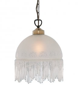 Searchlight Victoriana 1 Light Antique Brass Glass Pendant with Beaded Fringe