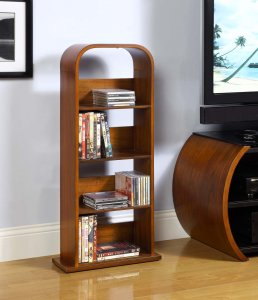 Jual Rio Walnut Curved Wood DVD Rack