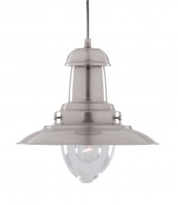 Searchlight Fisherman 1 Light Satin Silver Pendant