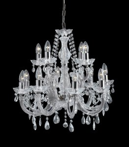 Searchlight Marie Therese 12 Light Chrome Pendant with Crystal Droplets