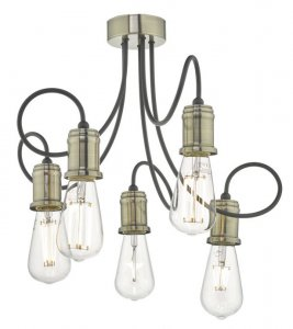 Dar Alzbet 5 Light Semi Flush Antique Brass & Black