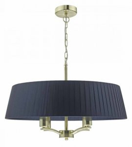Dar Cristin 4 Light Pendant Satin Brass complete Shade