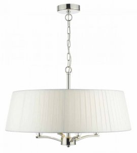 Dar Cristin 4 Light Pendant Polished Nickel complete with Ivory Ribbon Shade
