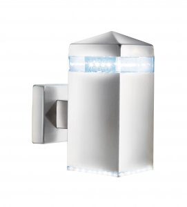 Searchlight LED Satin Silver Square Up Light Wall Bracket