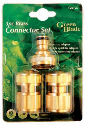 Green Blade 3 Piece Brass Connector Set