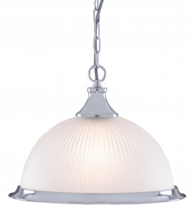 Searchlight American Diner 1 Light Pendant Satin Silver Diner Opal Glass