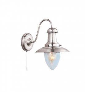 Searchlight Fisherman 1 Light Satin Silver Wall Light