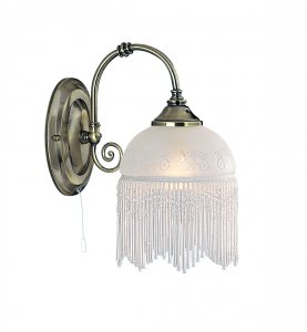 Searchlight 1 Light Victoriana Antique Brass Beaded Glass