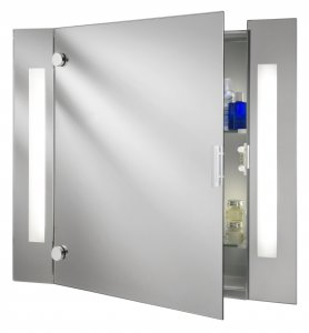 Searchlight Illuminated 3 Light Mirror Bathroom Cabinet with Shaver Socket