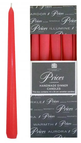 Price's Tapered Dinner Candle Red 24cm