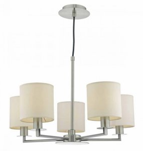 Dar Tyler 5 Light Height Adjustable Pendant Satin Nickel Without Shades