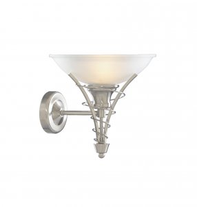 Searchlight Linea 1 Light Satin Silver Wall Light with Acid Glass