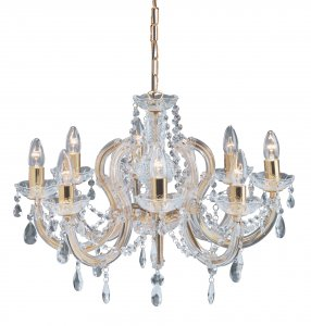Searchlight Marie Therese 8 Light Polished Brass Chandelier with Crystal Droplets
