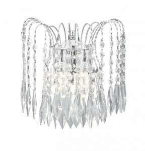 Searchlight Waterfall 2 Light Chrome Wall Light with Shower Crystals