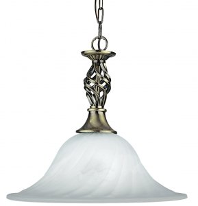 Searchlight Cameroon 1 Light Antique Brass Pendant with Marble Glass Shade