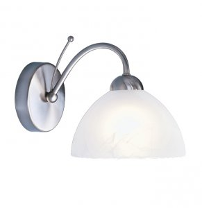 Searchlight Milanese 1 Light Satin Silver Wall Bracket with Alabaster Glass