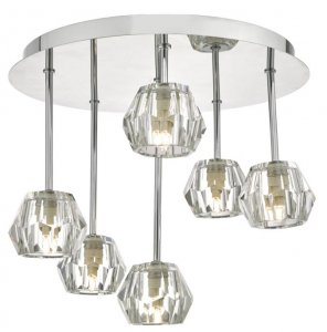 Dar Loshini 6 Light Semi Flush Polished Chrome & Glass
