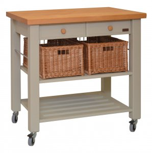 Hungerford Trolleys The Lambourn 2 Drawer French Grey Kitchen Trolley