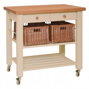 Hungerford Trolleys The Lambourn 2 Drawer Buttercream Kitchen Trolley