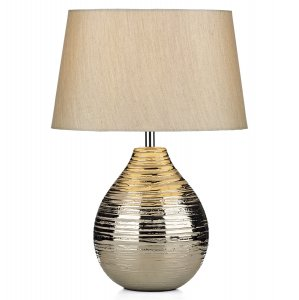 Dar Gustav Table Lamp Small Silver Complete with Silver Shade