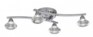 Searchlight Sculptured Ice 4 Light Chrome Flush Ceiling Light with Clear Glass