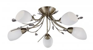 Searchlight Gardenia 5 Light Antique Brass Semi Flush Fitting Crystal Leaf White Glass