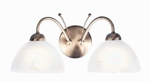 Searchlight Milanese 2 Light Antique Brass Wall Bracket with Alabaster Glass