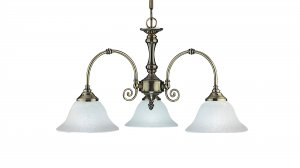 Searchlight Virginia 3 Light Antique Brass Pendant with White Scavo Glass