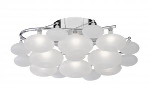 Searchlight Dulcie 8 Light Chrome Semi Flush Ceiling Light with Frosted Glass Pebble Shades