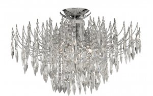 Searchlight Waterfall 4 Light Chrome Semi Flush Ceiling Light with Crystal Drops