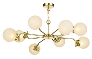 David Hunt Jazz 8 Light Pendant Butter Brass with Glass