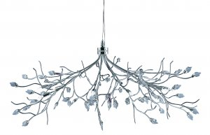 Searchlight Willow 10 Light Chrome Pendant with Crystal Leaves