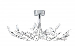 Searchlight Wisteria 10 Light Chrome Semi Flush Ceiling Light with White Frosted Glass