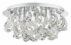 Dar Mezen 5 Light Flush Polished Chrome & Crystal Beads