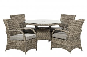 Royalcraft Dallas 4 Seater Round Dining Set - Grey
