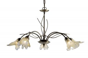 Searchlight Lily 5 Light Antique Brass Pendant with Petal Glass
