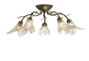 Searchlight Lily 5 Light Antique Brass Semi Flush Ceiling Light with Amber Petal Glass