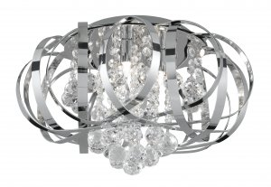 Searchlight Tilly 3 Light Chrome Semi Flush Ceiling Light with Clear Glass Balls