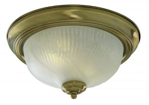 Searchlight 2 Light 28cm Antique Brass Flush Ceiling Light