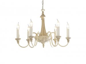 David Hunt Bailey 6 Light Antique Cream Chandelier