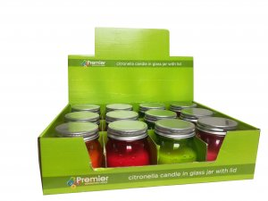 Premier Decorations Citronella Candle in Glass Jar with Lid - Assorted
