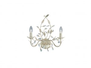 Searchlight Almandite 2 Light Cream Gold Wall Light with Crystal Detail