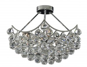 Searchlight Sassari 5 Light Chrome Semi Flush Chandelier with Clear Ball Basket