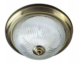 Searchlight 2 Light Antique Brass Flush Ceiling Light