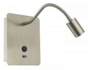 Dar Raoul Wall Light Satin Nickel LED