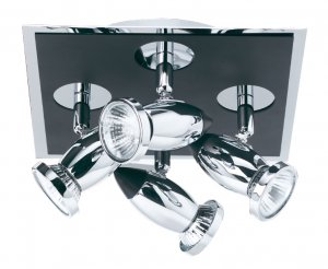 Searchlight Comet 4 Light Black and Chrome Square Spotlight Plate
